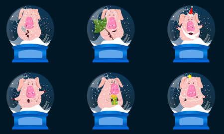 Boule de neige en cristal de Noël avec boules, cadeau, sapin et bonhomme de neige