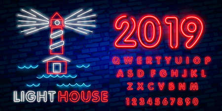 Night Club Lighthouse Neon Sign. Lighthouse Logo in Neon Style, Symbol, Design Template for Nightclub, Night Party Advertising, Discos. Neon banner. Vector illustration. Editing text neon sign Иллюстрация