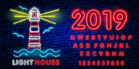 Night Club Lighthouse Neon Sign. Lighthouse Logo in Neon Style, Symbol, Design Template for Nightclub, Night Party Advertising, Discos. Neon banner. Vector illustration. Editing text neon sign Illustration
