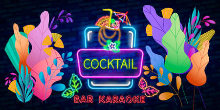 Coctail Bar neon logo design. Isolated on black background. Retro vintage neon sign. Design element for your ad, signs, posters, banners. Vector illustration