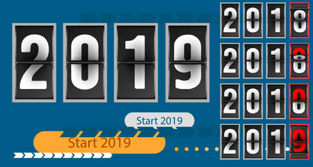 Happy new year concept template analog counter countdown timer, retro flip number counter from 2018 to 2019