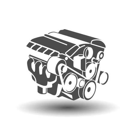 Car engine glyph icon. Motor. Silhouette symbol. Negative space