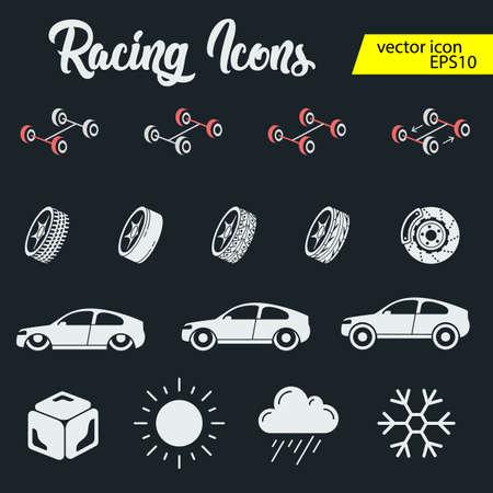 Set di icone da corsa automobilistica. Cronometro e tachimetro, pneumatico e piedistallo, casco e coppa, traguardo vincente, bandiera e gara di velocità,