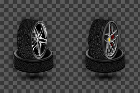 Vector 3d realistic black tyre stacked in pile, shining steel and rubber wheel for car, automobile, isolated on white. Modern rim, tread - automotive equipment for mechanic shop, Ilustrace