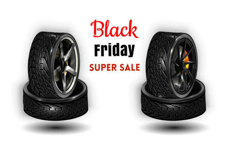 Vektor 3d realistischer schwarzer Reifen gestapelt im Stapel, glänzendes Stahl- und Gummirad für Auto, Automobil, isoliert auf weiß. Moderne Felge, Lauffläche - Kfz-Ausrüstung für Mechanikerwerkstatt,