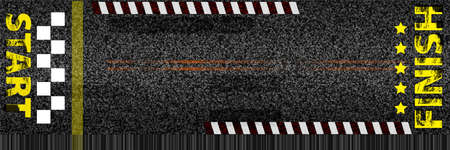 Creative vector illustration of finish line racing background top view. Art design. Start or finish on kart race. Grunge textured on the asphalt road.  イラスト・ベクター素材