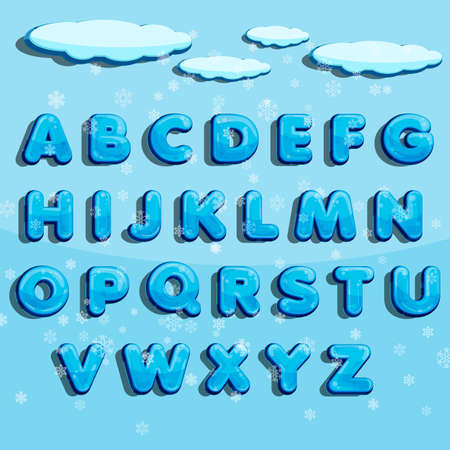 Winter vector alphabet with snow. Letter abc, ice cold font, season frost font, typography or typeset. Winter alphabet Illusztráció
