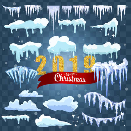 Isolated snow caps set on menu bar and buttons. New year decoration kit for website. Иллюстрация