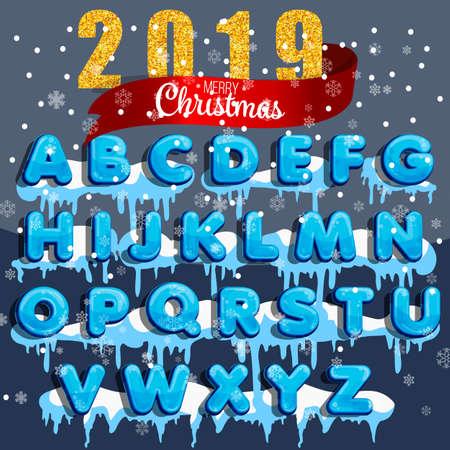 Alphabet de vecteur d'hiver avec de la neige. Lettre abc, police glacée, police de gel de saison, typographie ou composition. Alphabet d'hiver