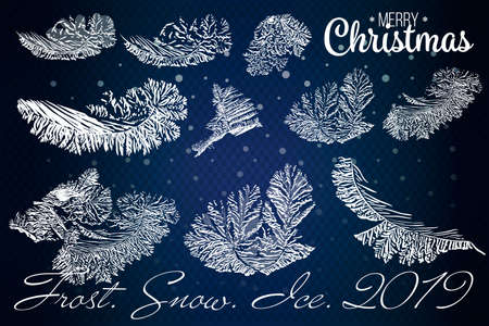 Frost glass pattern. Winter frame on transparent background. Vector christmas illustration. Vettoriali