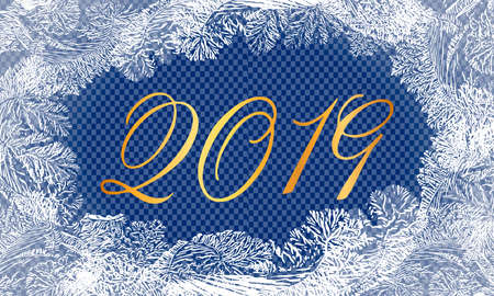 2019New Year on ice frosted background. Eps8. RGB. Global colors. One editable gradient is used for easy recolor Illustration
