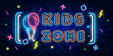 Kids Zone neon sign, bright signboard, light banner. Kids Area logo, emblem