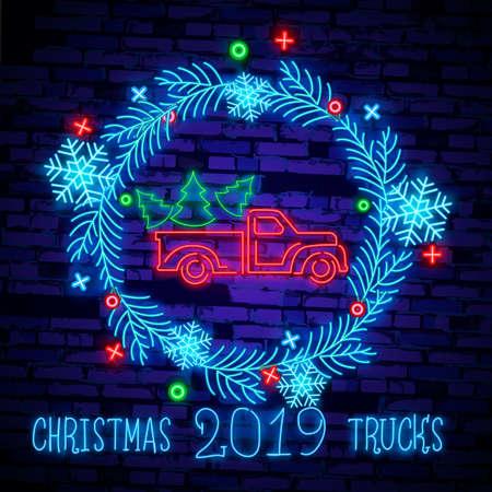 Christmas truck. Vintage vector illustration Christmas red truck with a Christmas tree