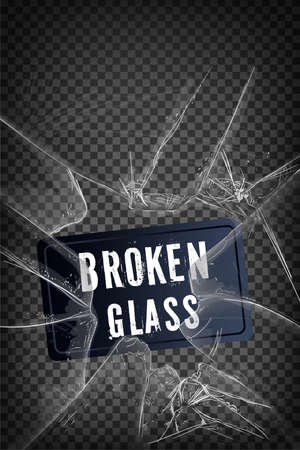 Vector broken glass. Isolated realistic cracked glass effect, concept element.