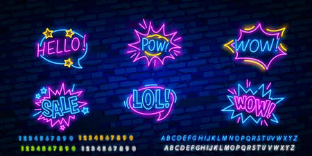 WOW neon sign vector. Comic speech bubble with expression text Wow, Design template neon sign, light banner, neon signboard, light inscription. Vector illustration Illustration