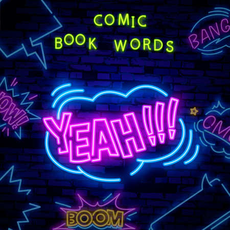 YEAH neon sign vector. YEAH pop art Design template neon sign, light banner, neon signboard, nightly bright advertising, light inscription.