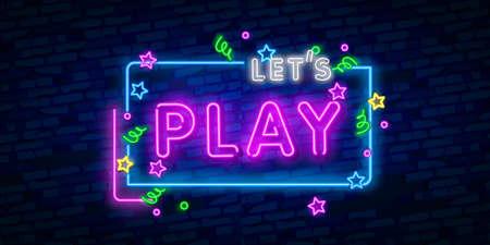 Let's Play enseigne au néon, enseigne lumineuse, bannière lumineuse. Logo, emblème et étiquette du jeu. Créateur d'enseignes au néon. Logo