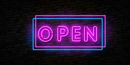 Now Open neon text vector design template. Now Open neon logo, light banner design element colorful modern design trend, night bright advertising, bright sign.