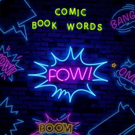 POWneon sign vector. POW pop art Design template neon sign, light banner, neon signboard, nightly bright advertising, light inscription. Vector illustration