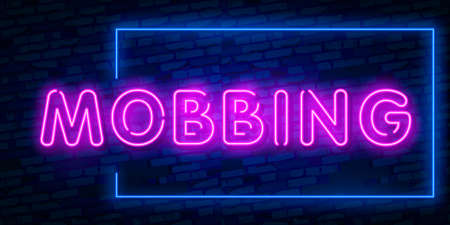 Mobbing word concept. Colorful Mobbing Text Vector With Brick Wall Background. design template modern trend design night neon signboard