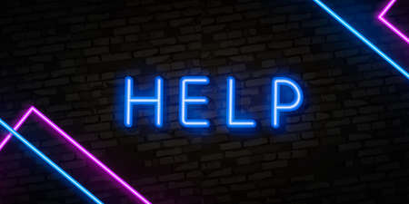 Help neon sign vector. Help Design template neon signboard, light banner, neon signboard, nightly bright advertising, light inscription.
