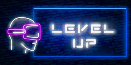 Level Up Neon Text Vector With Brick Wall Background. design template modern trend design night neon signboard night bright advertising light banner light art.  イラスト・ベクター素材