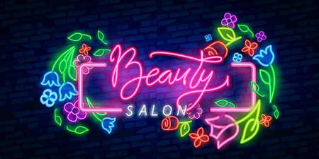 Beauty Salon neon sign vector. Beauty Salon Design template neon sign, light banner, neon signboard, nightly bright advertising, light inscription. Vector illustration.