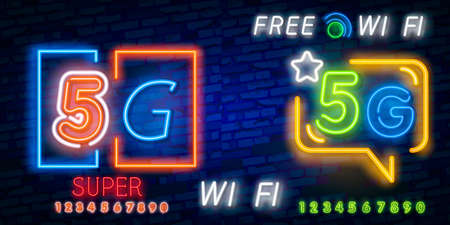 5G new wireless internet wifi connection neon sign vector. 5G Design template neon sign, light banner, neon signboard, nightly bright advertising, light inscription.