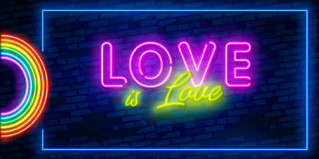 Love is Love neon text vector design template. LGBT neon logo, light banner design element colorful modern design trend, night bright advertising, bright sign.