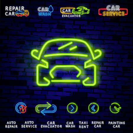 Auto service repair collection of logo in neon style. Set of neon sign, symbol on the topic of repairing cars. Emblem, bright banner sign, night bright advertising of auto repair.