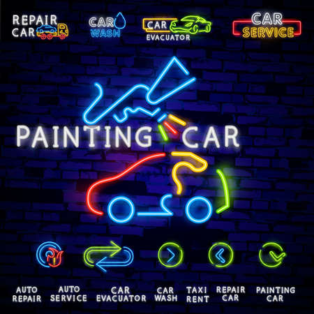 Car Painting blue glowing neon ui ux icon. Glowing sign logo vector