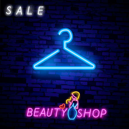 Vintage Glow Signboard with Hanger, Shopping Concept. Atelier, Checkroom, Tailor, Dressmaker, Boutique. Shiny Neon Light Poster Flyer Banner Business Card
