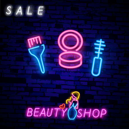 Beauty shopping, sale neon text and cosmetic accessories. Makeup, skincare and offer concept. Advertisement design. Night bright neon sign, colorful billboard. Çizim