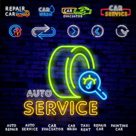Auto service repair collection of logo in neon style. Set of neon sign, symbol on the topic of repairing cars. Emblem, bright banner sign, night bright advertising of auto repair. Ilustrace