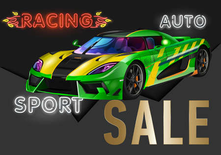 Very fast racing machine. Auto racing at Le Mans. Ring races. Of twenty-hour race. Icon of motorsports.
