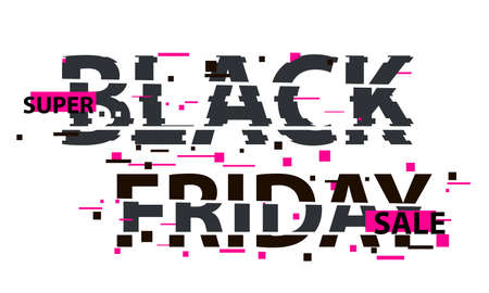 Black Friday glitch text. Anaglyph 3D effect. Technological retro background. Online shopping concept. Sale, e-commerce, retailing, discount theme. Vector illustration.