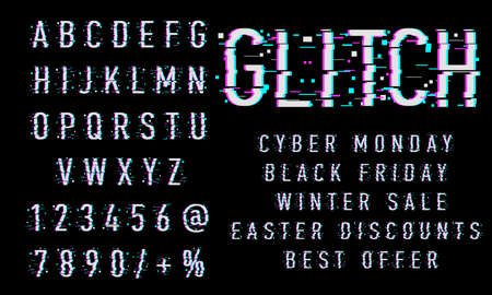 Vector of Glitch Modern Alphabet Letters and numbers, Grunge and Carved linear stylized rounded fonts, Minimal Italic Letters set for Futuristic