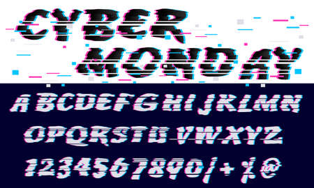 Trendy Glitch distorted font letters and numbers. Vector set with broken pixel effect,old distorted TV matrix effect.