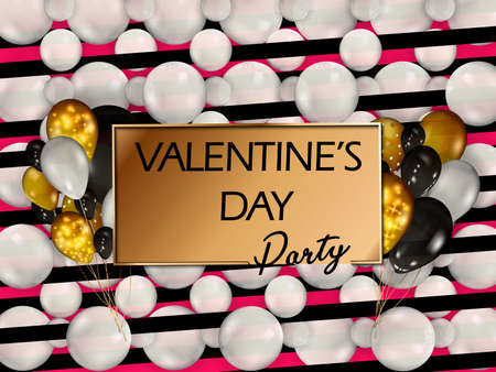 Golden balloons with confetti. Happy valentines day. Vector. Happy valentine s day. Greeting card design. Metallic balloons with black frame and text.