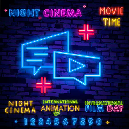 Cinema night set neon sing, label and logo. Cinema banner Design template, logo, emblem and label. Bright signboard, nightly bright advertising.