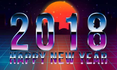 Synthwave style 2018 New Year design Retro wave landscape