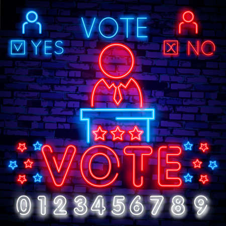 vote neon sign vector. Election Design template neon sign, light banner, neon signboard, nightly bright advertising, light inscription. Ilustração