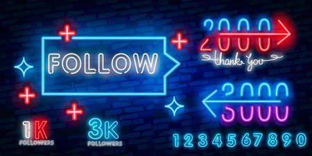 Follow neon text vector design template. Subscribe button neon logo