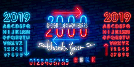 2000 followers neon sign on the wall. Realistic neon sign with number of followers on the ribbon with stars.