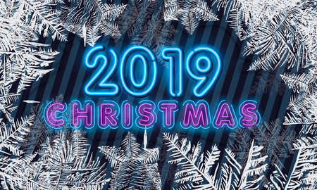 Vector Patterns Made by the Frost. Blue Winter Background for Christmas Designs. Typographic Label for Xmas Holiday Greeting Cards, Party Banners and Posters.