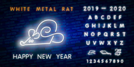 Two thousand twenty neon sign with joyful rat on brick wall background. Vector illustration in neon style for Christmas banners, New Year posters, party invitation