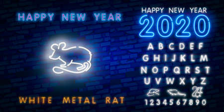 Two thousand twenty neon sign with joyful neon rat 2020 on brick wall background. Vector illustration in neon style for Christmas banners, New Year posters, party invitation  イラスト・ベクター素材