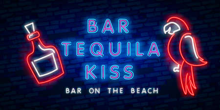 Neon text BAR TEQUILA KISS. Mexico bar neon sign, bright signboard, light banner. Mexican pub logo, emblem and label. Neon text edit