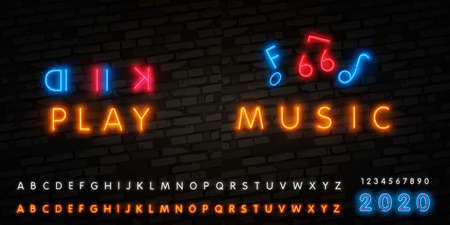Music note neon sign. Party, disco and advertisement design. Vector realistic isolated neon retro sign of notes for decoration and covering on the wall background. Concept of music, jazz and dj