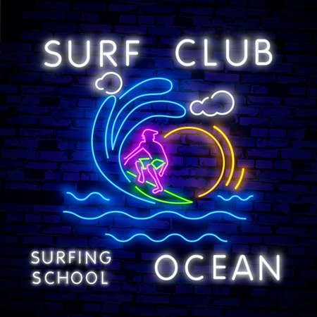 Surfing Poster in Neon Style. Glowing Sign for Surf Club or Shop. Surfboards Electric Icons on Brick Wall Background. Extreme sport, activity and leisure design. Night neon sign, colorful billboard Ilustração